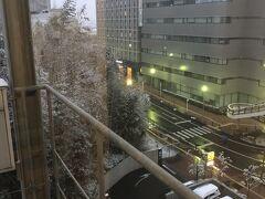 成田の朝。 起きたら雪が降っていました。 飛行機ちゃんと飛ぶのだろうか?ちょっと不安でした。