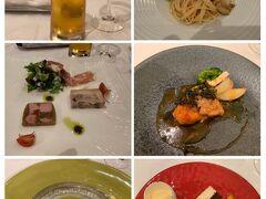 1日目の夕食はイタリアン。敷地内、マリーナ横にあるレストランへはバスで向かいます。