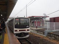 寒いホームでしばらく待ち、ようやく宇都宮行き205系電車が到着。今度の車両はノーマルな通勤型です。  JR日光線も観光風の車両を走らせたり、線内各駅の表示をレトロ調にしたりと工夫は見られますが、いずれも小手先だけといった印象で東武との差は歴然。やはりイマイチでした。