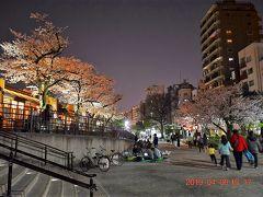 左側の堤防には隅田公園内にあるタリーズコーヒー。  昼間は桜の木の下はお花見の人でいっぱいでした。