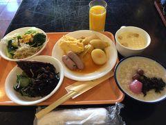 湯村ホテルB&Bの朝ごはん。ビジネスホテルにしては種類も多くて美味しかった。