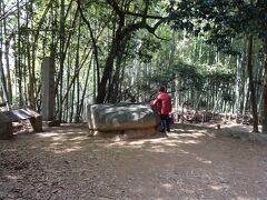 竹林の中に酒船石があった。  この石は放置状態で、見るのは無料だった。