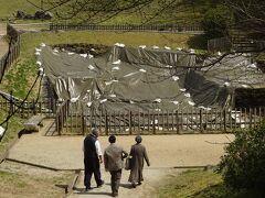この石の下(丘の下)には亀形石造物があるが(有料)、シートで覆われてしまっていた。  それなのに、入場料を払って見学する人がいる。