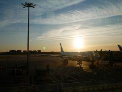 搭乗時間を待っていると夜が明けてきた。