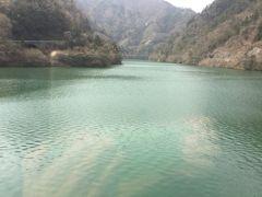 平岡駅を出ると平岡ダムがありダムの上流は2-300mも川幅がある 天竜川、平岡ダム湖です。 深い緑色です。