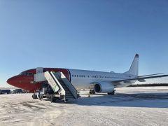 3/5 13:10ヘルシンキ発、1時間20分のフライトで ロヴァニエミ空港へ到着しました。  北緯66度、北極圏(ラップランド)の入り口にあたります。