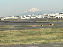離陸直前、富士山と鶴ちゃんマークが3機 意図したわけでは無いが、左側の窓側席にして正解。