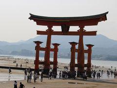 ちょっと逆光を気にして、厳島神社の大鳥居が斜めに写ってしまいました・・