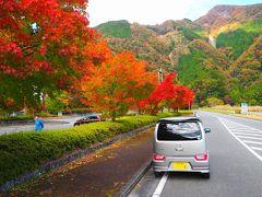 「梅ヶ島新田温泉 黄金の湯」前の紅葉  国道29号まで戻って来ました。 よさげの紅葉を見つけ・・・