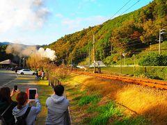 「川根温泉笹間渡駅」裏にやって来ました。 観光客が多くポジションを上手く取れない・・・  PM3:30 駅を発射する汽笛が響きます。