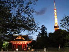 ホテル周辺を散歩。 旧台徳院霊廟惣門木造仁王像と東京タワー。