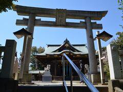 丘の上に有ります、赤羽八幡神社さんの鳥居と拝殿を見ます。 (参拝の人がかなり居ました)