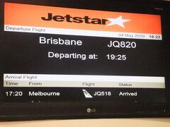シドニーからは19:25発のジェットスターブリスベン行きに乗る。エアーズロックからのフライトは日本人だらけだったが、こちらは殆ど日本人はいなかった。