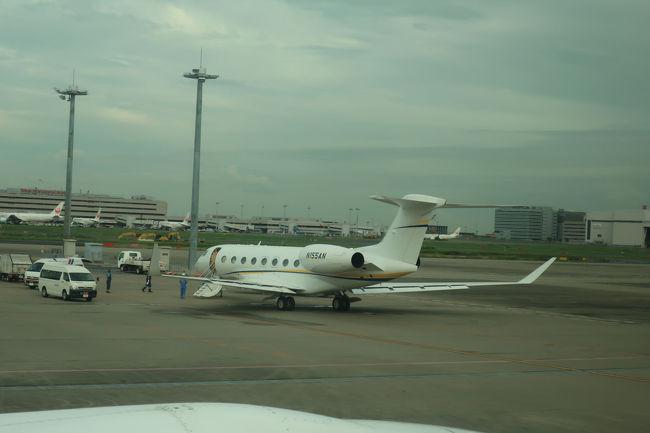 ビジネスジェットが国際線ターミナル近くに駐機していました。これは、今をときめく。。。この次点では有効的に使われていたみたい