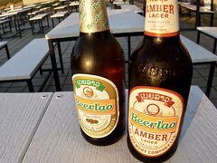 【メコン川の夕暮れ】  ラオのビールを飲む~、うんめぇ~!  その名も「Beer Lao」!!