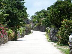 白い砂の道の両側に石組みの壁 思い描いた沖縄の風景です