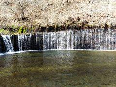 お土産屋のある駐車場から歩いて3分白糸の滝です。ここはかなりの観光地みたいでオフシーズンでも観光客が結構いました。