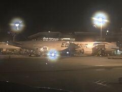 定刻よりも20分ほと早めに着陸。 到着ゲートの隣にはエジプト航空 カイロ行が出発待ち 21:20発、MS965便/B777-300ER