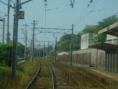 2019.05.04 楠橋ゆき普通列車車内 今池を発車。阪堺電車のディープ西成に同じ駅名が…