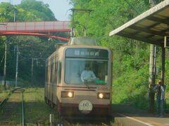 2019.05.04 楠橋ゆき普通列車車内 西山では復刻塗装の3000形と行きかう。