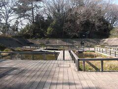 水生植物園と後ろは亀甲山古墳
