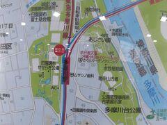 東横線多摩川駅で下車. この辺りのマップ.  右の多摩川沿いの多摩川台公園に古墳があるのですが,まず南(マップでは上)の浅間神社に行きます.駅からすぐ近くです.