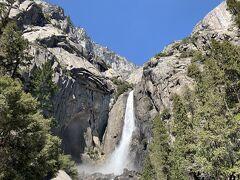 歩くこと約15分でヨセミテ滝へ到着です。観光客の方がとてもたくさんいました。