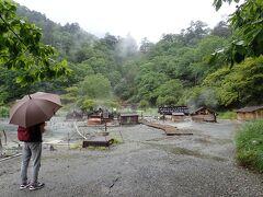 湯元温泉の源泉にやって来ました 雨の中、湯気が上がっています
