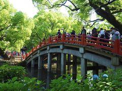 境内の心字池かかる二つの太鼓橋を渡って、本殿へ。