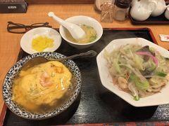 打合せを終えランチ。 いつもの天津飯と皿うどんのハーフ&ハーフ。