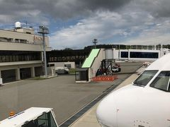 どんよりと曇った空模様の庄内空港です