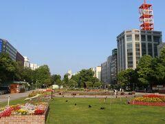 朝6時20分にホテルを出発。 札沼線の終点新十津川駅行の列車は1日1本。 札幌発6時58分の電車に乗らないと間に合わないのです。  朝の大通公園。 この公園に来ると、札幌に来たなあ、と実感します。