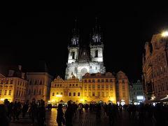 ティーン教会 2本の尖塔が特徴的なティーン教会。夜景もとても綺麗です。  プラハ観光最終日、素敵なライトアップを見ることが出来、大満足です。