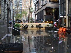 ホテルまでの道のりは土砂降り。 マーティンプレイスの高級店の軒先で雨宿りしながら移動する。 Regimental Square