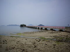 海沿いを東へ戻りだすと、ポツンのひと島に社が見えました。