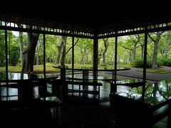 そして、隣の『真和亭』で一休み。 この茶室からは、苔庭の美しい景色が窓越しに楽しめる。 磨かれたテーブルに緑が映り込み、とても綺麗だ。 他に客は一人もいないので、貸切でその素晴らしい景色を堪能できた。