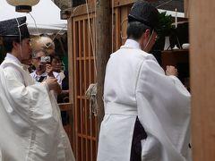 朝の菊水鉾で神主さんのお祓い。