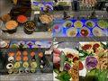朝食〜♪ サラダを中心にお野菜たっぷり〜♪ 日本風にいうと小鉢(左下) お粥に入れる品(左上)もある、、 紫いもの揚げたものもあるし(右下・右) 日本では珍しい食用さぼてん グラパラリーフも(右下・左)、、 (以前南米の朝食バイキングでいただいたことあり)
