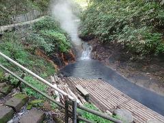 大湯沼川天然足湯に到着です。