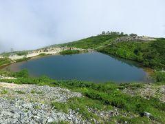 八方池到着  あいにく山の方はガスで「逆さ白馬」は拝めず
