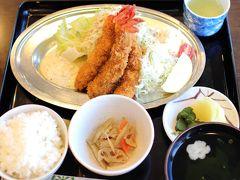 初日の夕食は「さいかや」という白浜の食堂にて。 エビフライが大きくて美味しかったです!