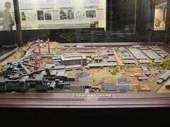 博物館にある当時の伊田鉱業所のジオラマ。 竪坑櫓を中心に鉱業所の建物、そして炭鉱夫たちの住まいである炭鉱住宅が多くありました。