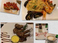 ディナーはホテル近くのリストランテ ウラディミール で。 ブルスケッタ・ペスカトーレ・ラム・パンナコッタとカプチーノをいただきました! どれもおいしかった!
