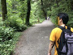 ひやひやしながら、林の中を歩いていきます。 河童橋から明神橋を目指して右側のコースを行きます  ずんずん歩きますよー