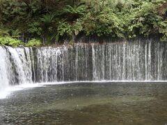 5分ほどで白糸の滝に到着。  高さ3m、幅70mの横に長い滝。 水のカーテンみたい。  夫はこういう滝とは思わず、拍子抜けしたみたい。