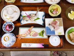 ホテルの大浴場で塩抜きして夕食 この日のお刺身には、ホテルの社長が釣ったシマアジをつけてくれました