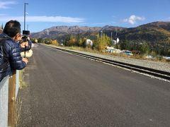 アラスカ鉄道のアンカレッジ方面行は12:30発です。 フェアバンクスからの列車が左から来ました。