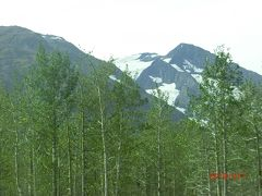 山の上、渓谷に氷河が見えてきました。