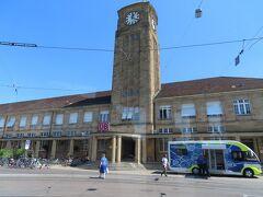 ドイツ側のバーゼル駅バーゼル・バディッシャー駅(Basel Badischer Bahnhof)  トラムで15分程。 DBのマークがあります。