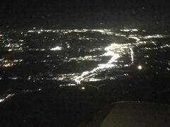 離陸後に見た、九十九里上空 台風15号による停電の影響なのか何となく暗い…